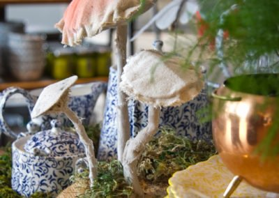 moss and mushroom display